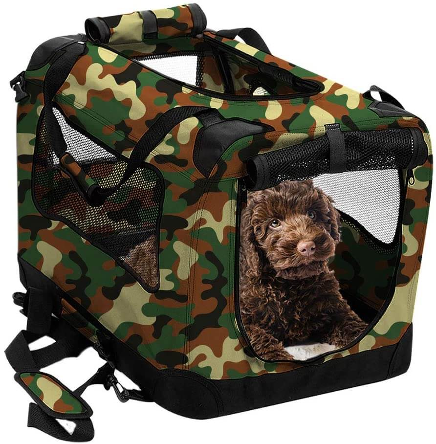 2PET Foldable Dog Crate Small 20 inches disguise camo