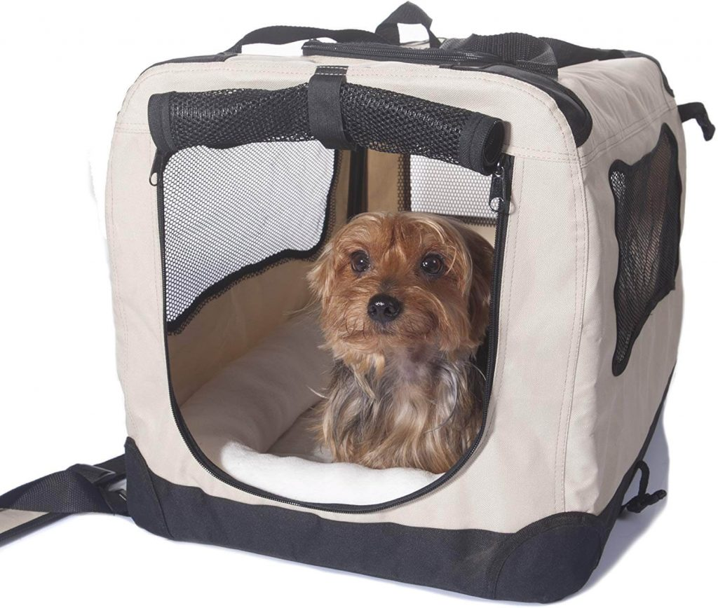2PET Foldable Dog Crate Small Biscuit Beige