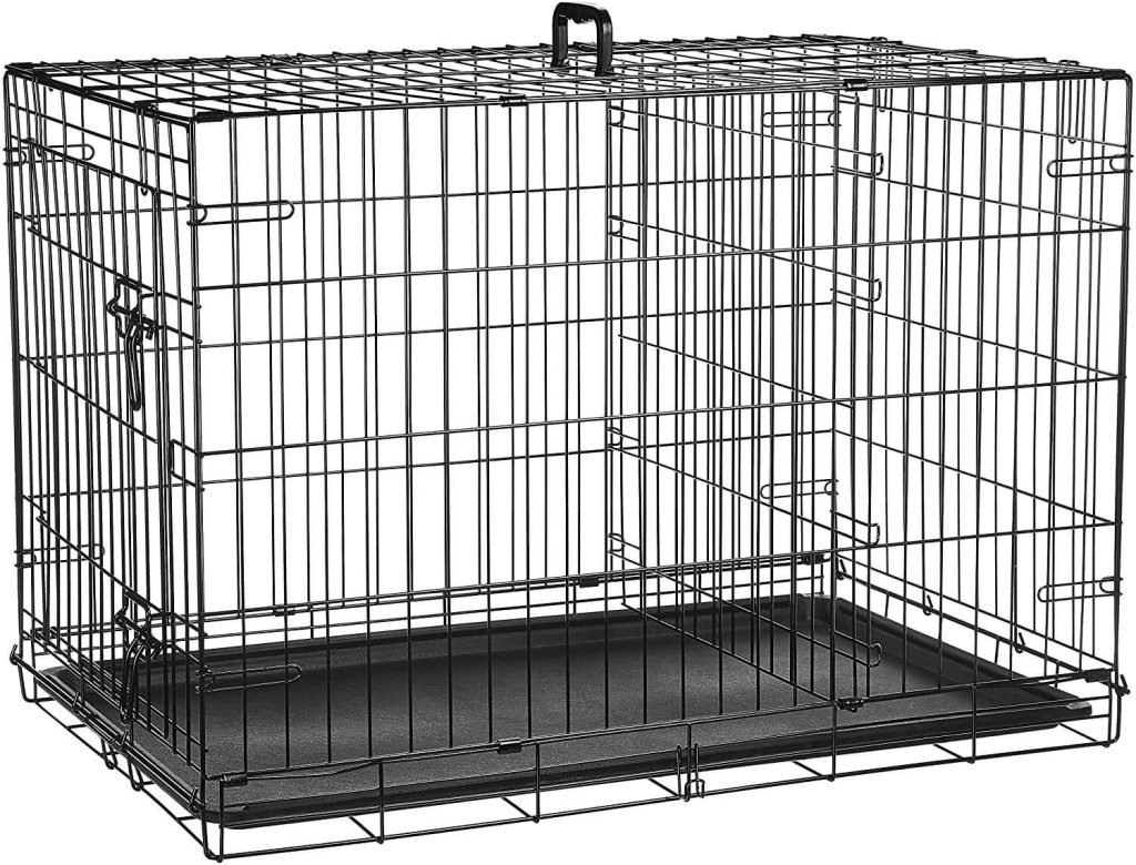 AmazonBasics Folding Metal Crate with Divider Panel